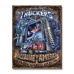 Truckers Backbone of America Tin Sign