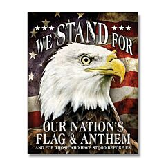 Stand for Flag & Anthem Tin Sign