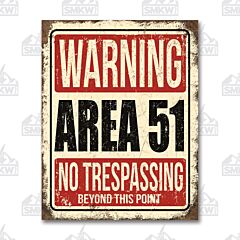Area 51 Warning Tin Sign