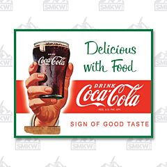 Coca-Cola Delicious with Food Tin Sign