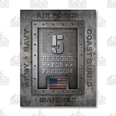 5 Reasons for Freedom Tin Sign