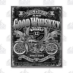 Old Bikes & Good Whiskey Tin Sign