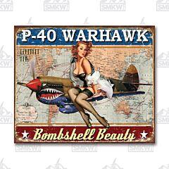 Warhawk Bombshell Beauty Tin Sign