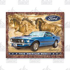 Mustang Flag Tin Sign