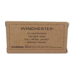 Winchester Service Grade 9mm 115 Grain Full Metal Jacket 50 Rounds