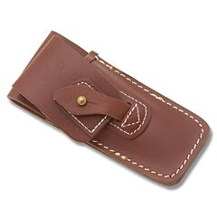"Brown Leather Sheath with Tab and Stud Closure fits Folding Knives up to 5"" Closed"