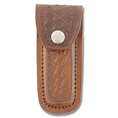 "Basketweave Leather Sheath - Brown - Fits 4"" Folding Knives"
