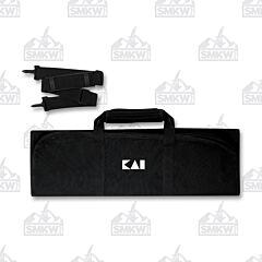 Kai 8 Slot Knife Roll Black with White Logo
