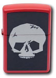 Zippo Red Matte Skull Lighter