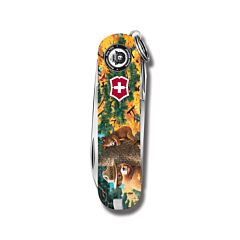 "Victorinox Swiss Army Classic SD Smokey Bear Series 2.25"" with Tree Hugging Printed ABS Handle and Stainless Steel Blades and Tools Model STBV581"