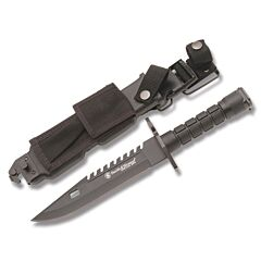 "Smith & Wesson Special Ops M9 Bayonet with Black Nylon Fiber Handle and Black Coated 420J2 Stainless Steel 7.875"" Clip Point Plain Edge Blads with Black Molded Plastic Sheath Model SW3B"