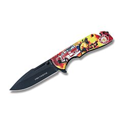 """Sigma Impex Firefighter Rescue Linerlock with Aluminum Handles and Assisted Opening Black Coated Stainless Steel 4"""" Drop Point Plain Edge Blades Model KN-1831"""