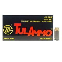 TulAmmo 40 S&W 180 Grain Full Metal Jacket 50 Rounds