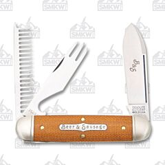Tidioute Beer and Sausage Bar Tool Knife Natural Micarta