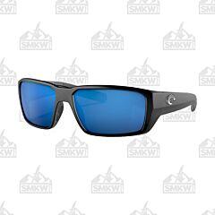 Costa Fantail Pro Black Matte Sunglasses Blue Mirror