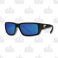 Costa Fantail Black Matte Sunglasses Blue Mirror