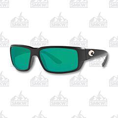 Costa Fantail Matte Black Sunglasses Green Mirror