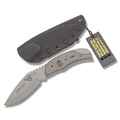 TOPS Cheetah Black Linen Micarta Handle Tactical Gray Coated Blade