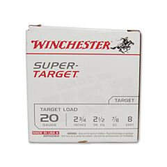 "Winchester Super Target 20 Gauge 2-3/4"" 7/8oz Copper Plated Lead Shot 25 Rounds"