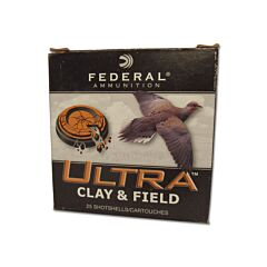 "Federal Ultra Clay 12 Gauge 2-3/4"" 1-1/8oz #8 Shot 25 Rounds"