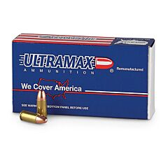 Ultramax Remanufactured 9mm Luger 125 Grain Full Metal Jacket 50 Rounds
