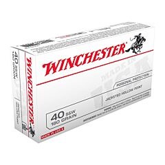 Winchester USA 40 S&W 180 Grain Jacketed Hollow Point 50 Rounds
