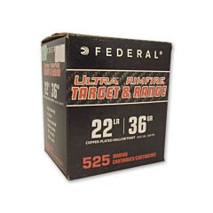 Federal Ultra Rimfire 22 Long Rifle 36 Grain Copper Plated Hollow Point 525 Rounds