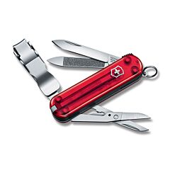 Victorinox Nail Clip 580 Translucent Ruby Red Composition Handle Stainless Steel Blades Tools