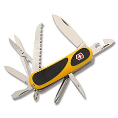 "Victorinox Delémont Collection Yellow EvoGrip S18 3.375"" with Yellow and Black Handle and Stainless Steel Blade and Tools Model 2.4913.SC8"