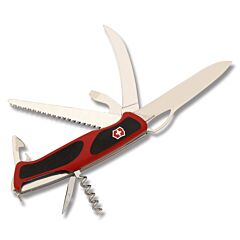 "Victorinox Delémont Collection  RangerGrip 5.125""with Red Composition Handle and Stainless Steel Blades and Tools Model 0.9583.MCUS2"