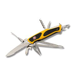 "Victorinox RangerGrip Boatsman 5.125"" with Yellow and Black Composition Handle and Stainless Steel Blades and Tools Model 0.9798.MWC8"