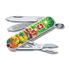 """Victorinox 2018 Contest Limited Edition Mexican Sunset Mexico Classic SD 2.25"""" with Composition Handles and Stainless Steel Plain Edge Blades Model 0.6223.L1807"""