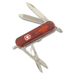 "Victorinox Swiss Army Signature Lite 2.313"" with Translucent Ruby Composition Handle and Stainless Steel Blades and Tools Model 53187"