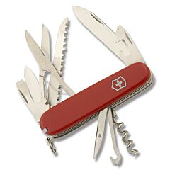 """Victorinox Swiss Army Huntsman 3.625"""" with Red Composition Handle and Stainless Steel Blades and Tools with Black Leather Sheath Model 56820"""