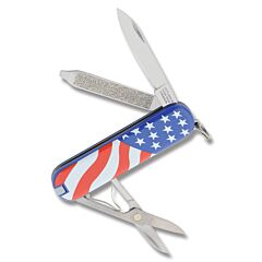 """Victorinox Swiss Army Classic SD USA Flag 2.25"""" with Composition Handle and Stainless Steel Blade and Tools Model 57216"""