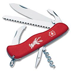"Victorinox Swiss Army Hunter 4.375"" with Red Composition Handle and Stainless Steel Blades and Tools Model 53641"