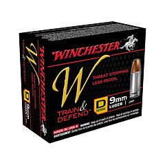 Winchester W Defend Reduced Recoil 9mm Luger 147 Grain Jacketed Hollow Point 20 Rounds