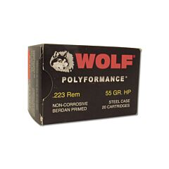 Wolf Performance 223 Remington 55 Grain Jacketed Hollow Point 20 Rounds