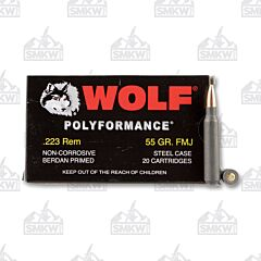 Wolf Performance .223 Remington 55 Grain Full Metal Jacket Ammo 20 Rounds