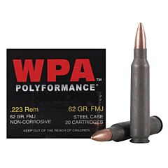 Wolf Polyformance 223 Remington 62 Grain Full Metal Jacket 20 Rounds