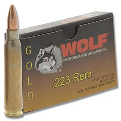 Wolf Gold 223 Remington 55 Grain Premium Grade Full Metal Jacket 20 Rounds.