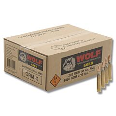 Wolf Gold 223 Remington 55 Grain Premium Grade Full Metal Jacket 1000 Rounds