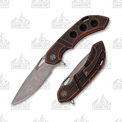 Olamic Cutlery Wayfarer 247 Dark Stonewash Drop Point Distressed Gunkote