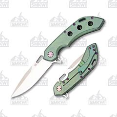Olamic Cutlery Wayfarer 247 Satin Drop Point Green Techwash Purple Accents