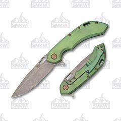 Olamic Cutlery Wayfarer 247 Drop Point Stonewash Blade Green Kinetic Handle