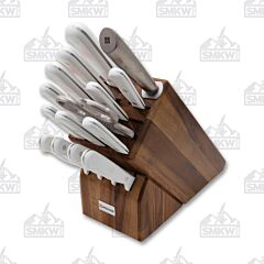 Wüsthof Gourmet White 16-Piece Acacia Wood Knife Block Set