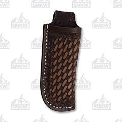 Western Fashion Dark Brown Weave Leather Sheath