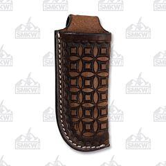 Western Fashion Dark Brown Circle Weave Leather Sheath