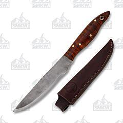 Custom Woody Western Camp Knife Curly Maple Handle 1095 Tool Steel