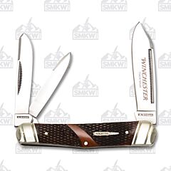 Winchester Brown Checkered Bone Whittler 7Cr17MoV Stainless Steel Blades